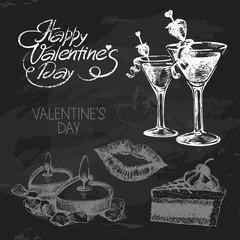 Valentine's Day hand drawn chalkboard design set.