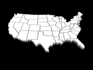 USA white map 3D