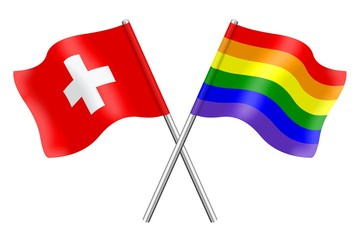 Flags: Switzerland and rainbow