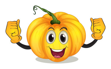 A strong squash with a smiling face
