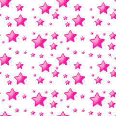 Seamless design with pink stars