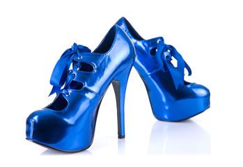Blue elegant high heel shoes