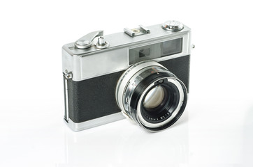 Retro photo camera isolated on white :Clipping path included
