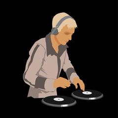 DJ Wearing Headphones. Vector