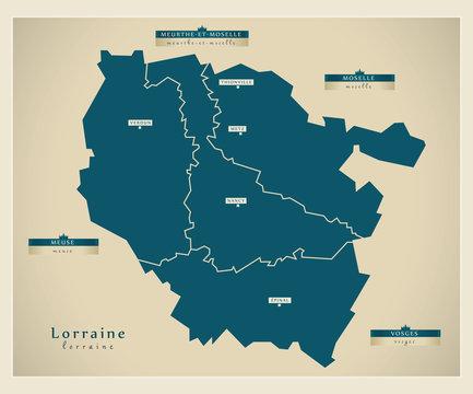 Moderne Landkarte - Lorraine FR