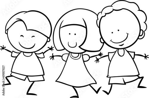 картинки черно белые дети нарисованные