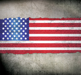 USA Flag on Brick Background