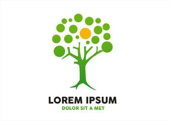 Go green nature save tree logo vector design.