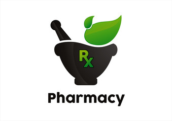 Rx pharmacy holding plant abstract green leaf logo design vector