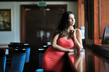 Beautiful lady standing by the window
