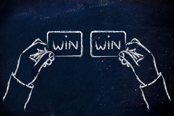 hands exchanging Win Win solutions