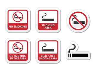No smoking, smoking area vector icons set