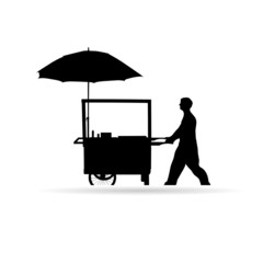 man sold hot dog vector silhouette