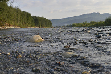 pebbles in the mountain river