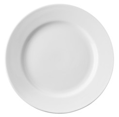 Empty white plate isolated with clipping path included