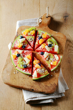 Tropical watermelon pizza for a party dessert