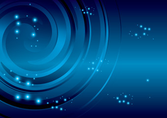 dark blue background with stars and abstraction spiral - vector