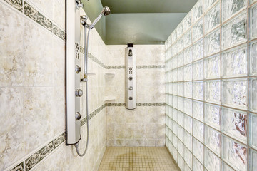 Shower with glass block wall and tile trim