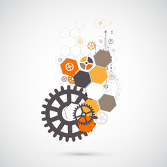 Abstract technological background with various technological ele
