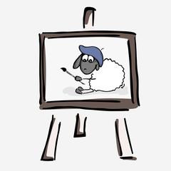 Vector illustration, sheep, art