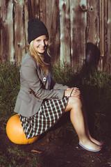 Halloween pumpkin, happy autumn concept