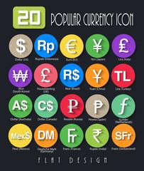 20 Popular Currency Symbols Flat Design