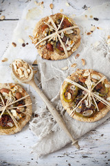 homemade rustic cookies with figs and almond slices with seed