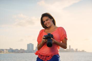 Woman photographer camera tourist picture photo