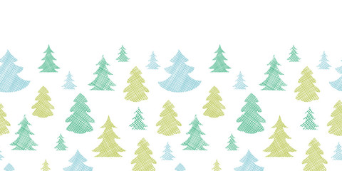 Green blue Christmas trees silhouettes textile horizontal