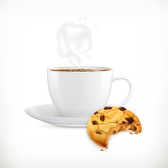 Cup of coffee and cookies, isolated vector illustration