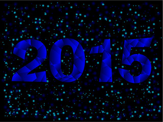 Happy New Year 2015 Blue Triangle Text Message Vector .