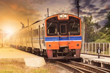 diesel engine trains on track ways station against beautiful dus