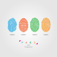 Pass with fingerprint. color vector illustration.