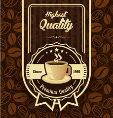 Brown pattern background with coffee label