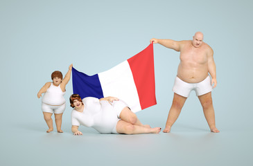 3d render France obesity concept - fat family with flag