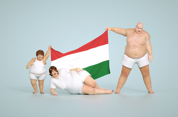 3d render Hungarian obesity concept - fat family with flag