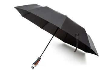 Modern black umbrella in the unfolded form isolated on white bac