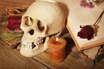 Human skull with dried rose petals and candle