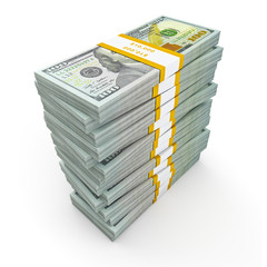 Stack of new new 100 US dollars 2013 edition banknotes (bills) s