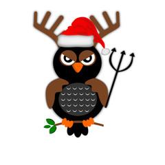 Gufo con corna e cappello natalizio
