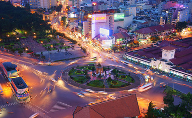 Asia traffic, roundabout, Ben Thanh market