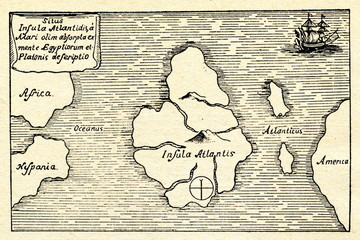 Kircher's map of the Atlantis (south at the top)