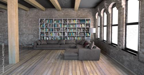 Interno soggiorno vintage con libreria openspace 3d\