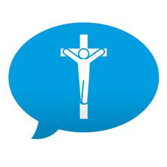 Etiqueta tipo app azul comentario simbolo crucifijo
