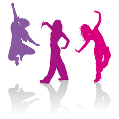 Silhouettes of girls dancing jazz funk dance