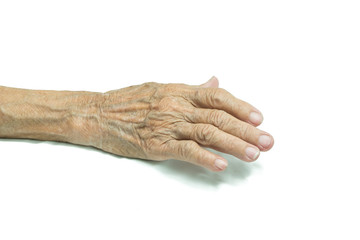 Senior woman's hand isolated on white