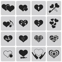 Vector black hearts icons set2. Vector Illustration eps10