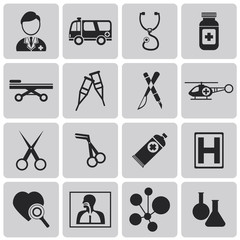 Medical black Icons set2. Vector Illustration eps10