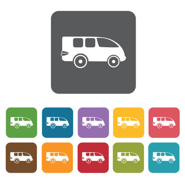 Mini van icons set. Rectangle colourful 12 buttons. Vector illus