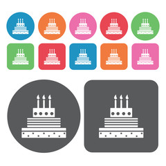 3 layer cake with candle icons set. Round and rectangle colourfu